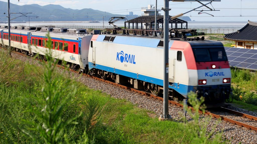 A picture of a train near the east coast of South Korea.