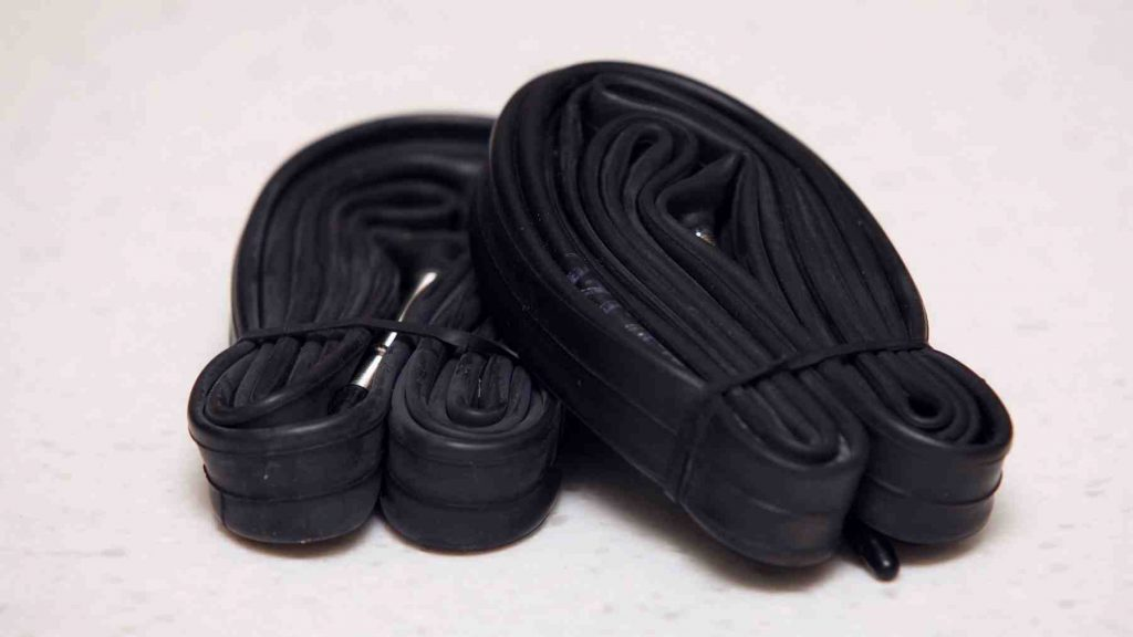 A picture of two bike inner tubes.