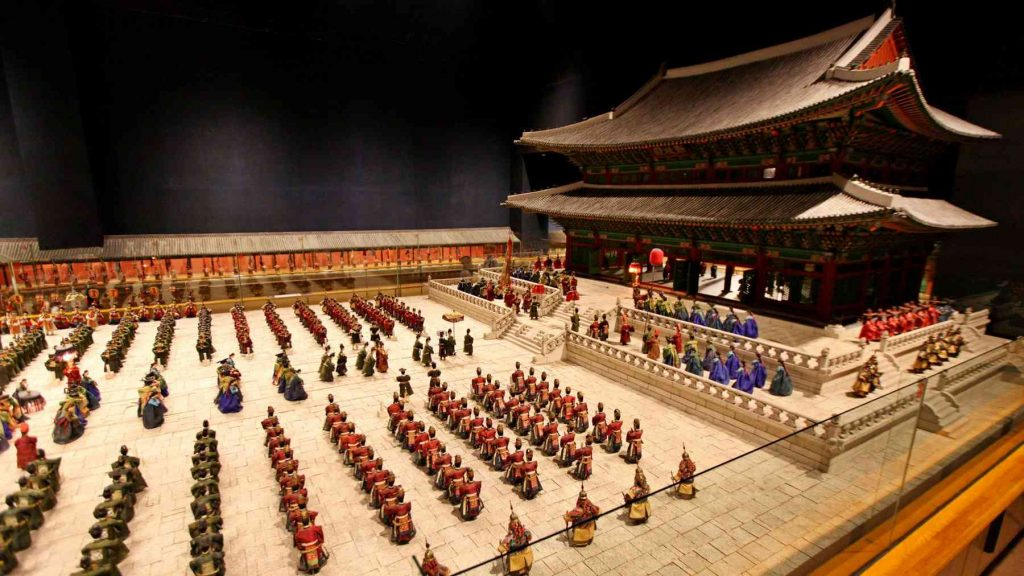A picture of a miniature recreation of old Korean court.