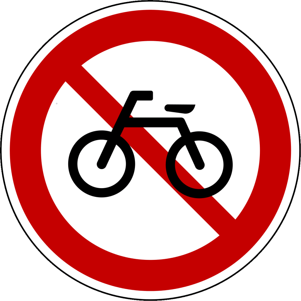 A picture of a no biking sign in Korea.