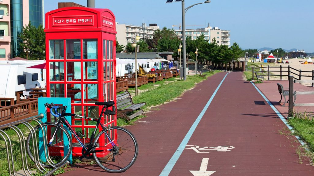 A bike leans against a checkpoint booth along the Gangwon Bicycle Path on Korea's east coast.