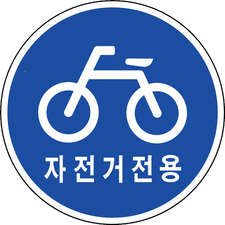 "A Korean road sign that says ""Bike Lane Only."""
