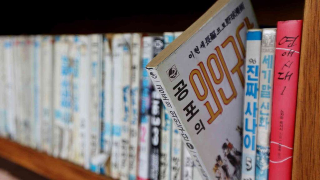 A picture of a Korean language book on a bookshelf.